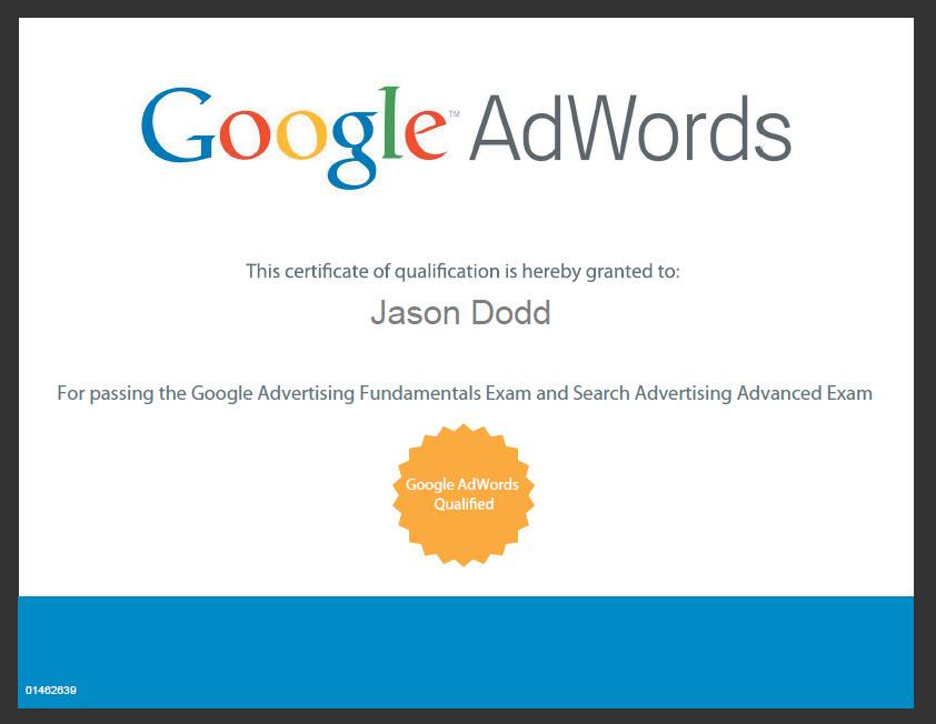 We are now Google AdWords certified!